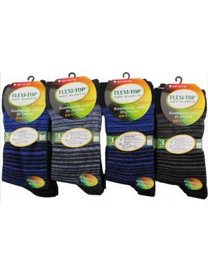 Wholesale Men's Card of 3 Diabetic Non Elastic Socks Assorted Design(UK 6-11)