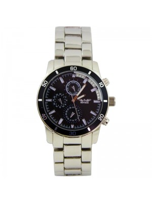 Softech Mens 3 Time Display Design Metal Strap Watch