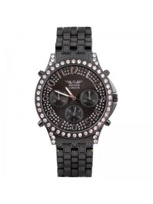 Wholesale Softech Mens Crystal 3 Dial Metal Bracelet Fashion Watch - Black