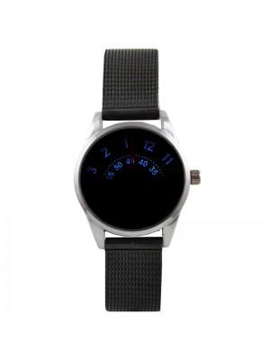 Wholesale Softech Mens Jump Hour Time Display Mesh Bracelet Strap Watch - Black