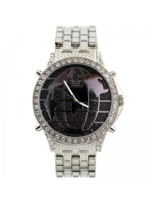 Wholesale Softech Mens Map Design Metal Strap Watch - Silver/Black