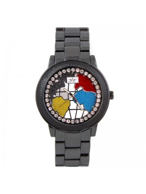 Wholesale Softech Mens Map Design With Crystal Dial Metal Strap Watch - Black
