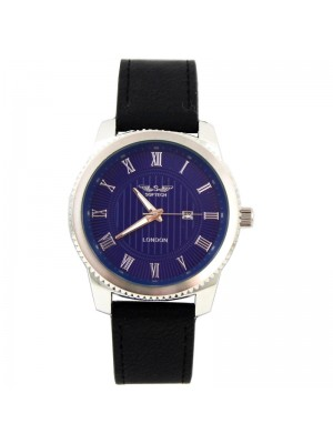 Wholesale Softech Mens Roman Numerical Dial Leather Strap Watch - Black/Blue