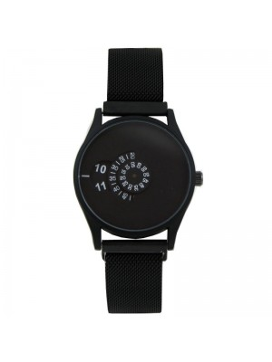 Wholesale Softech Mens Rotating Dial Mesh Bracelet Strap Watch - Black