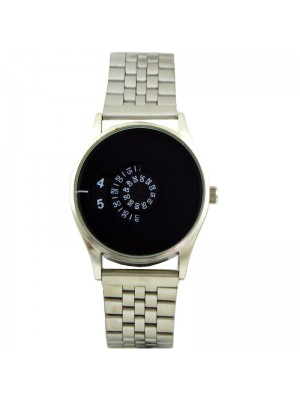 Wholesale Softech Mens Rotating Dial Metal Strap Watch - Silver/Black
