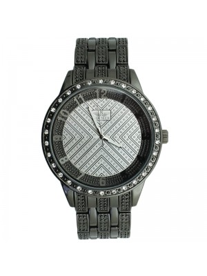 Softech Mens Crystal Encrusted Watch - Black with Silver Dial