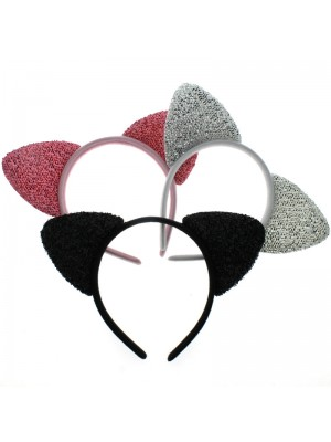 Sparkly Cat Ears on a Aliceband - Assorted Colours
