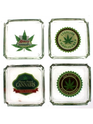 Square Glass Ashtrays- Green Leaf Design Assorted