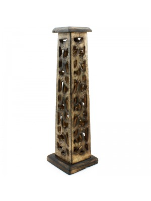 Square Incense Tower with Cutwork 12''
