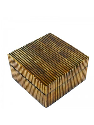 Square Jewellery Wooden Box- Cutout Bone 11x11x6.5cm