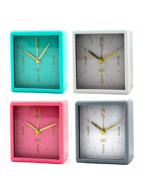Wholesale Square Quartz Table Alarm Clock - Assorted Colours