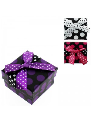Square Ring Gift Box Polka Dot Assorted Colours (5cm x 5cm x 3cm) 53475