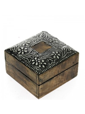 Square Wooden Jewellery Box - Silver Floral Detail 10x10x6.5cm