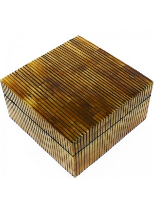 Square Wooden Jewellery Box With Mirror- 18 x 18.5 x 9.5cm