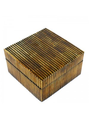 Square Wooden Jewellery Box With Mirror- Cutout Bone 14.5 x 14.5 x 8.5cm