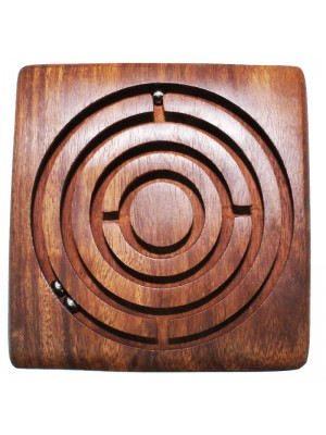 Wooden Square Maze Puzzle Game 4 Inch