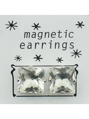 Square Magnetic Sterling Silver Earrings - Clear (10mm)