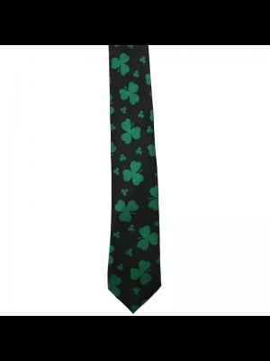 St. Patrick's Day Clover Necktie - Black