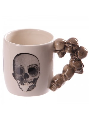 Stack of Skulls Shaped Handle Mug with Decal