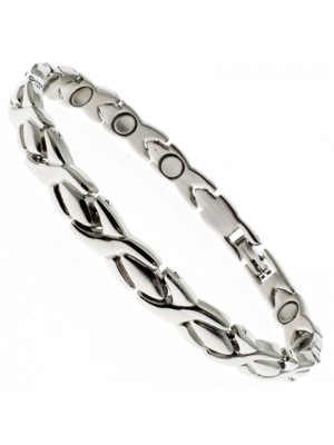 Magnetic Bracelets with 13 Magnets - Silver with Silver Cross Links