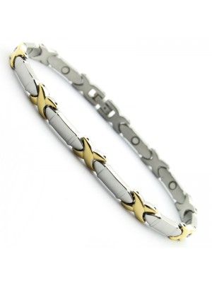 Stainless Steel Magnetic Bracelets with 9 Magnets - Silver with Gold Cross Links