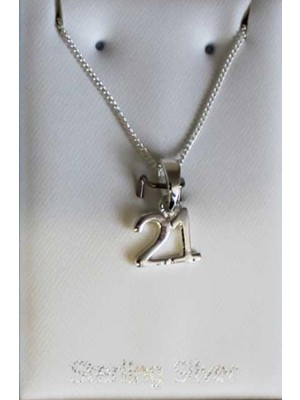 Sterling Silver 21 Necklace 9mm