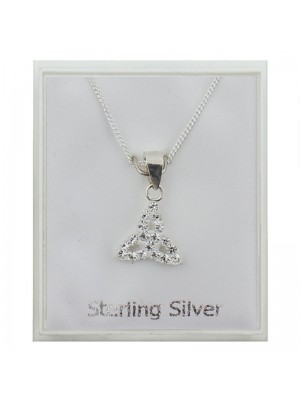 Sterling Silver Austrian Crystal 3 Petal Pendant Necklace - Clear (10mm)