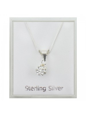 Sterling Silver Austrian Crystal Ball Shape Pendant Necklace - Clear (5mm)