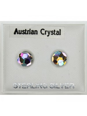 Sterling Silver Austrian Crystal Ball Studs (6mm)
