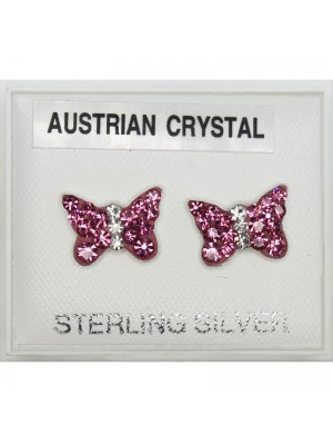 Sterling Silver Austrian Crystal Butterfly Studs 8 mm
