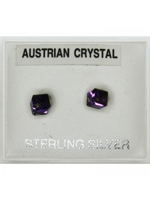 Sterling Silver Austrian Crystal Cube Studs 4mm