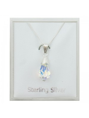 Sterling Silver Austrian Crystal Drop Pendant Necklace - 15mm