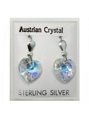 Sterling Silver Austrian Crystal Heart Earrings (15mm)