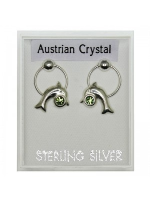 Sterling Silver Austrian Crystal Ring & Dolphin Earrings