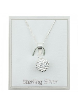 Sterling Silver Austrian Crystal Round Pendant Necklace (8mm)