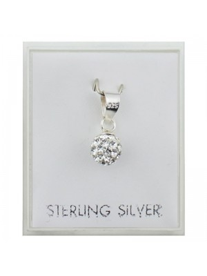 Sterling Silver Ball Crystal Pendant with Clear Crystals (6mm)