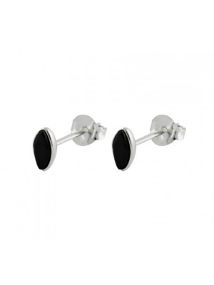 Wholesale Sterling Silver Black Stone Marquise Shaped Ear Studs