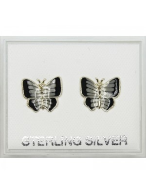 Sterling Silver Butterfly Stud- Asst Colours 5mm