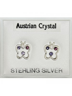 Sterling Silver Butterfly Studs - Asst. Colours (8mm)