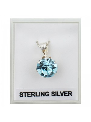 Sterling Silver Claw Set Pendant with Crystal - Turquoise (8mm)
