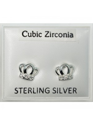 Sterling Silver Crown Design Crystal Studs - 8mm