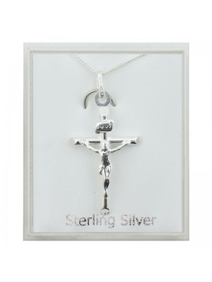 Sterling Silver Crucifix Pendant Necklace (30mm)