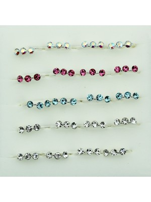 Sterling Silver Crystal Nose Rings - Assorted Colours (10mm)