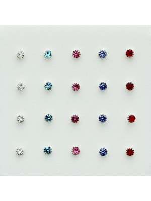 Sterling Silver Crystal Nose Studs - Asst. Colours (2mm)