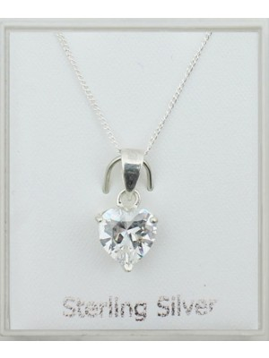 Sterling Silver Cubic Zirconia Heart Shape Pendant Necklace (8mm)