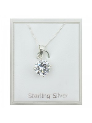 Sterling Silver Cubic Zirconia Pendant Necklace - Clear (8mm)