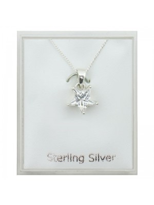 Sterling Silver Cubic Zirconia Star Pendant Necklace (10mm)