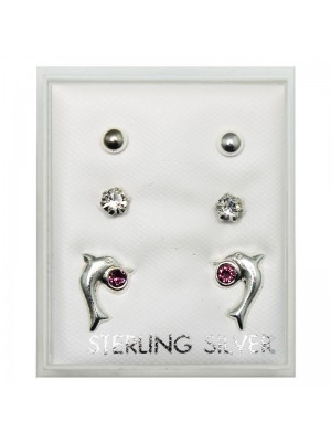 Sterling Silver CZ 3 Pair Studs - Dolphin/ Stone/ Ball