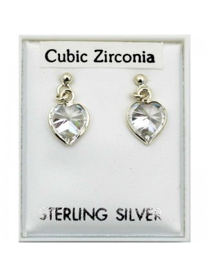 Sterling Silver CZ Heart Shaped Earrings - 7mm