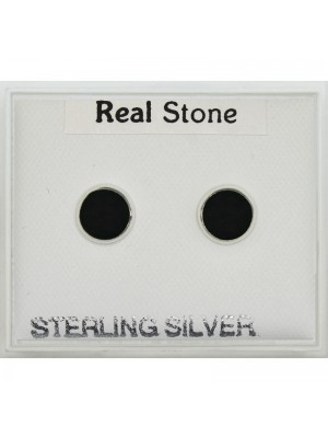 Sterling Silver CZ Round Studs With Black Stone 6mm